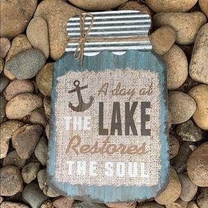 Mason jar LAKE wood farmhouse sign